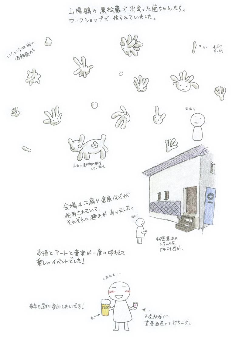 山陽鶴の黒松蔵で出会った菌ちゃんたち。ワークショップで作られていました。とてもかわいい。お酒とアートと音楽が一度に味わえて楽しいイベントでした!