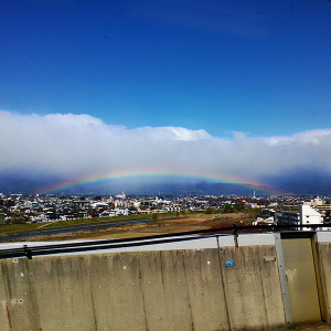 福島の空にかかる虹。福島よさらば。