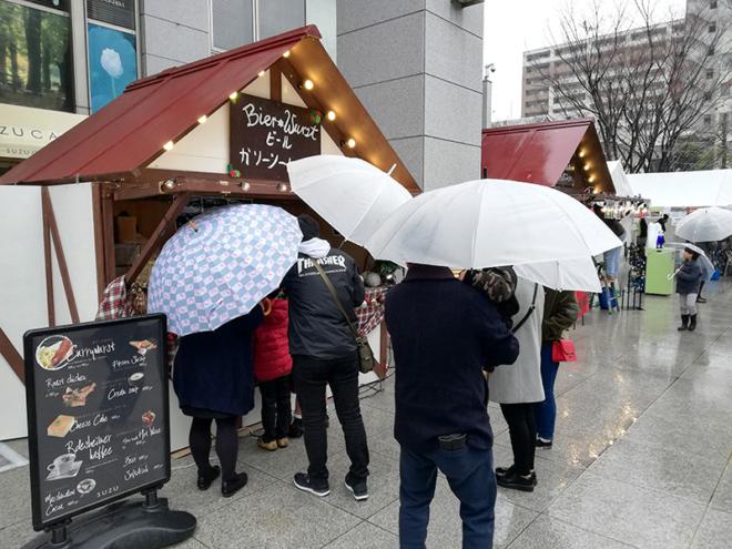 基町クレドの会場 ひろしまドイツクリスマスマーケットは大人気