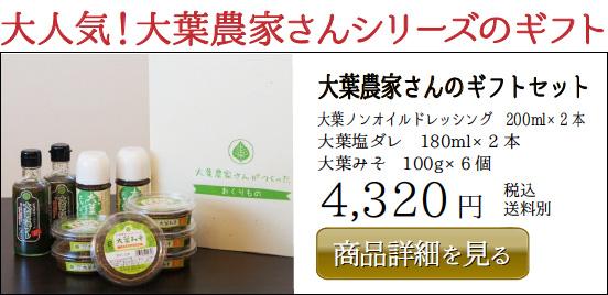 大葉農家さんのギフトセット 大葉ノンオイルドレッシング 200ml×2 本 大葉塩ダレ 180ml×2 本 大葉みそ 100g×6 個 4,320 円